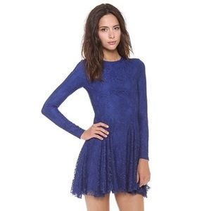 Torn By Ronny Kobo Isabel Lace Blue Lace Dress